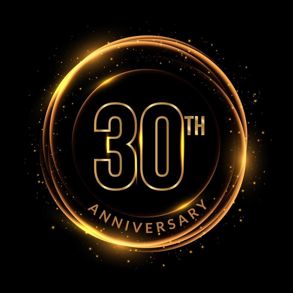 glinsterende gouden 30e verjaardagstekst in cirkelvormig frame vector
