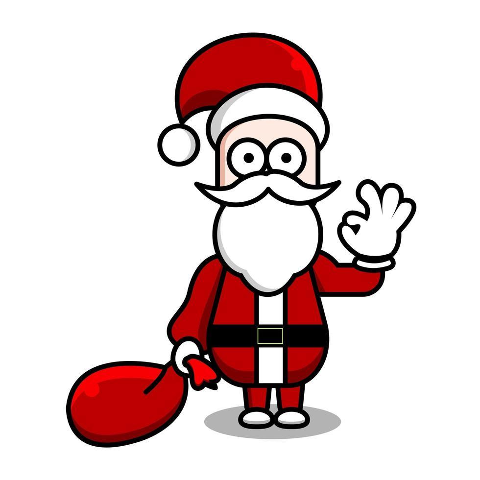 santa klaar om kerstcadeaus cartoon te verspreiden vector