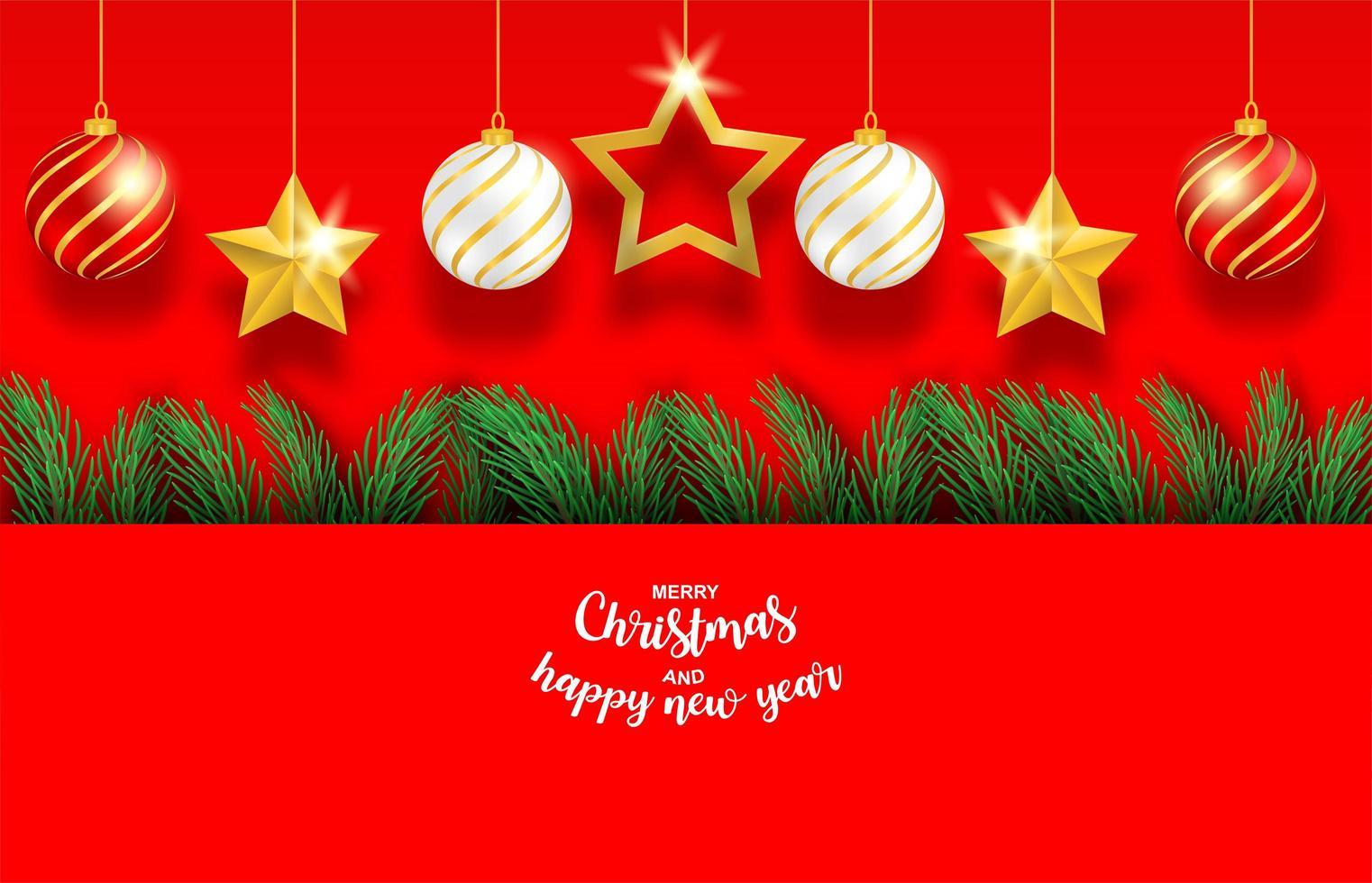 kerstboomtakken en hangende ornamenten op rood vector