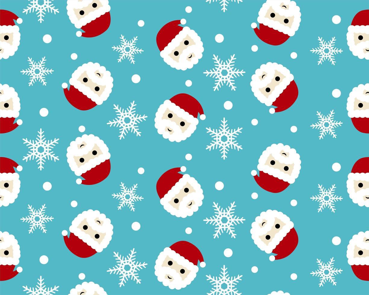 vrolijk kerstfeest naadloze patroon met kerstman hoofd en sneeuwvlokken vector