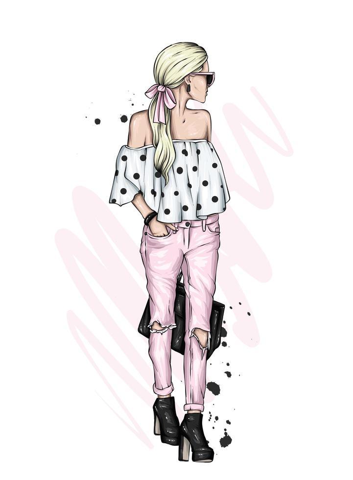 mooi meisje in stijlvolle roze spijkerbroek en gestippelde top vector