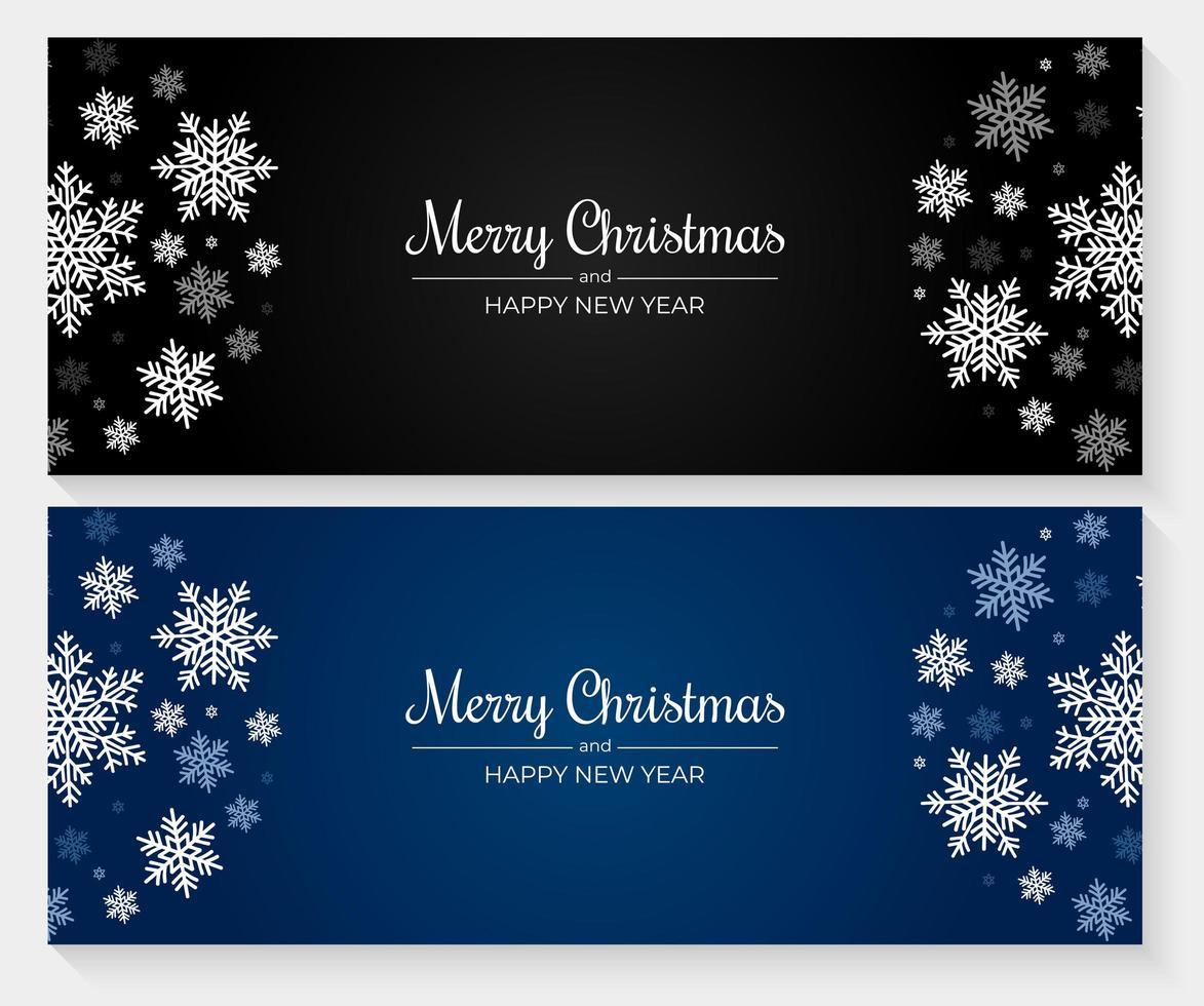 kerstbanners met blauwe, witte en grijze sneeuwvlokken vector