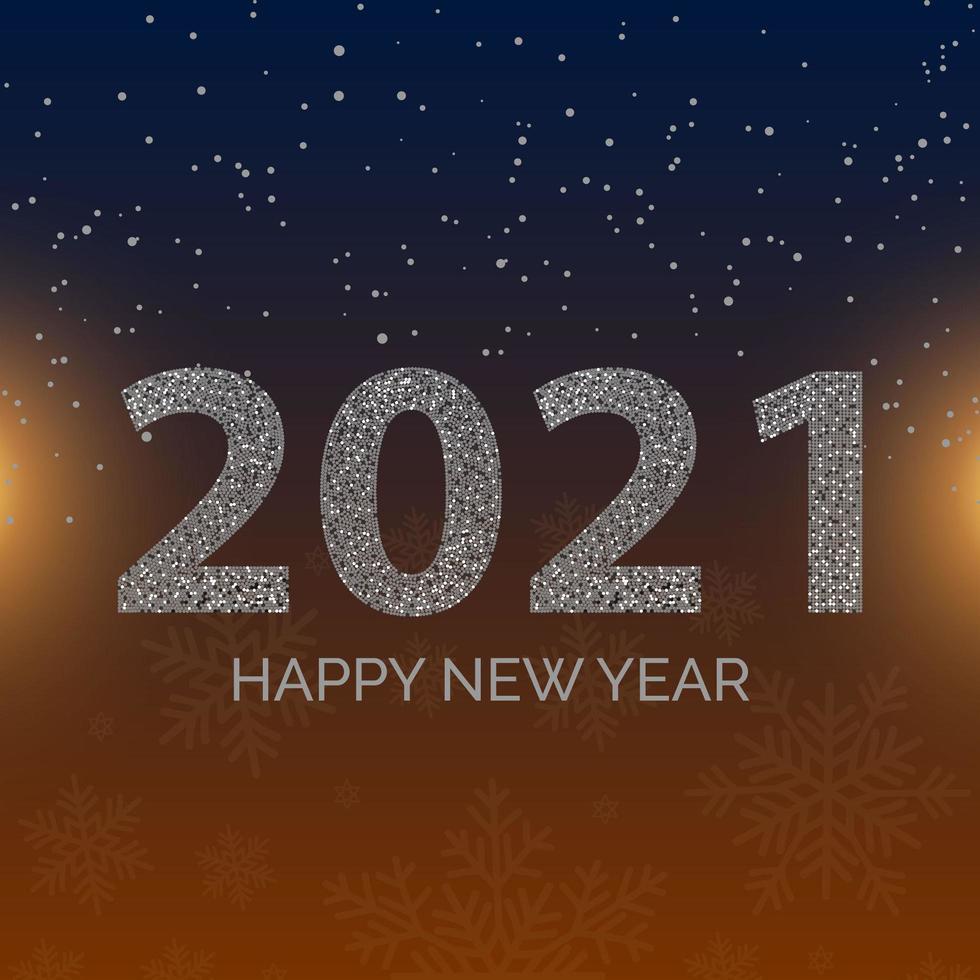 2021 gelukkig nieuwjaar poster met sneeuwvlokken vector