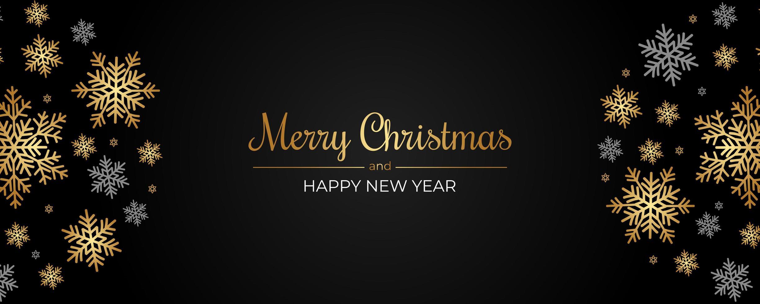 kerstbanner met gouden en grijze sneeuwvlokken op zwart vector