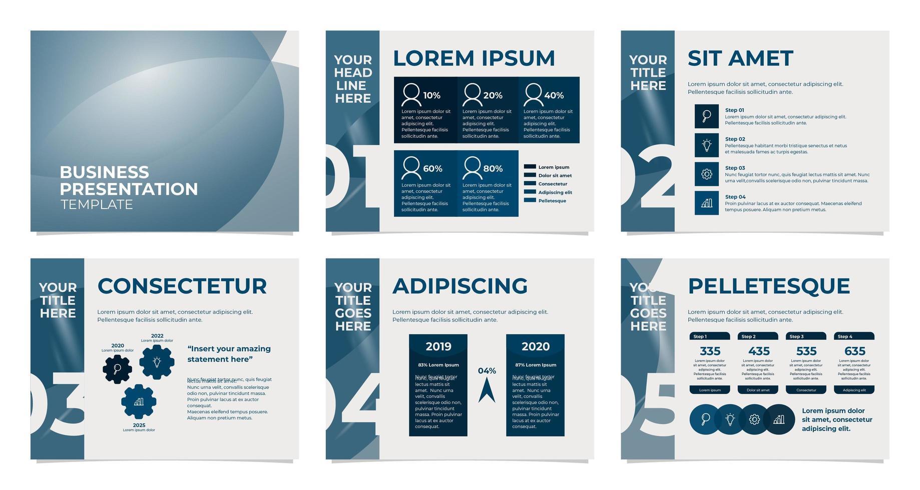 zakelijke presentatiesjabloon in grijs en blauw vector