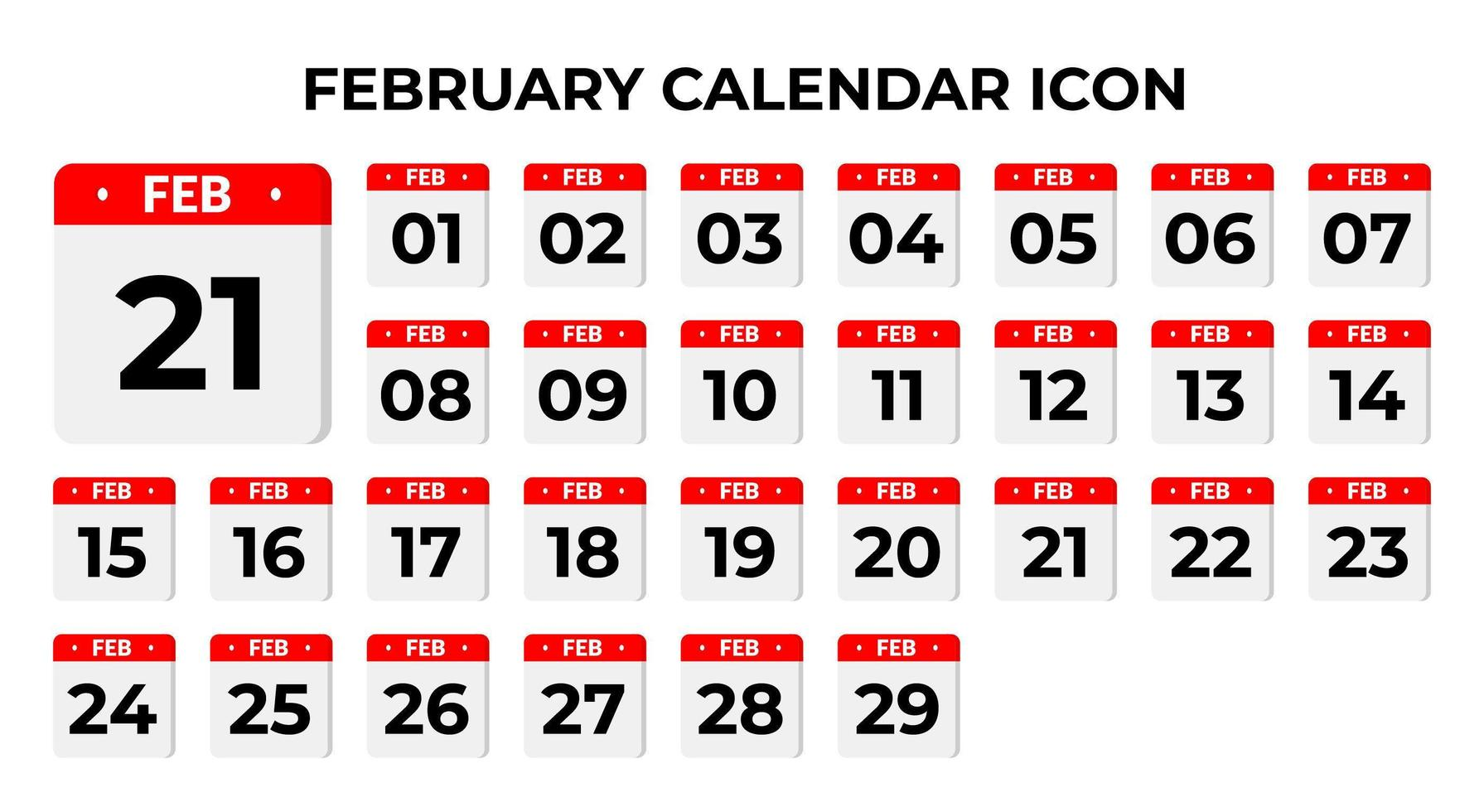 februari kalender pictogrammen vector