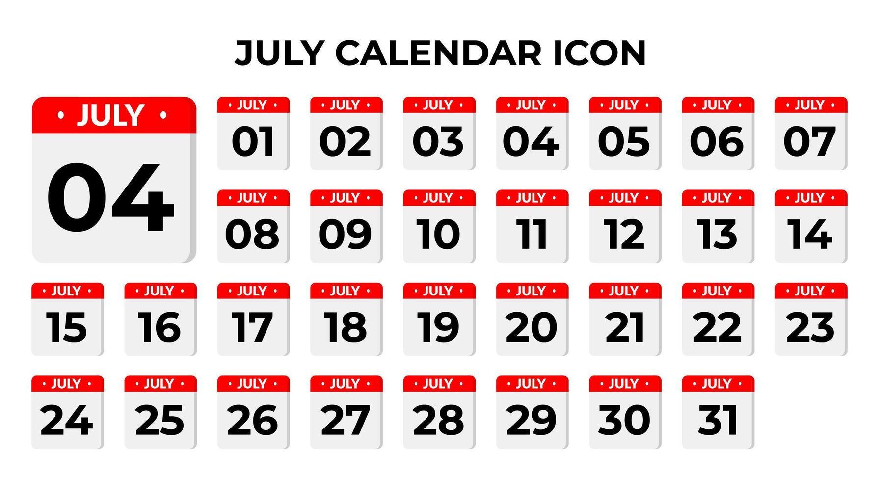 juli kalenderpictogrammen vector