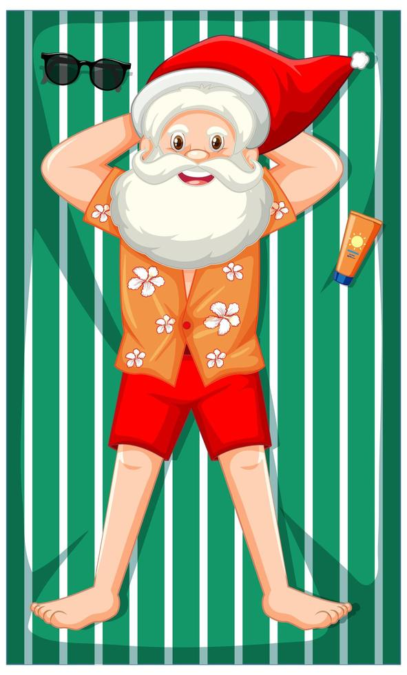 Kerstman nemen zonnebad stripfiguur vector