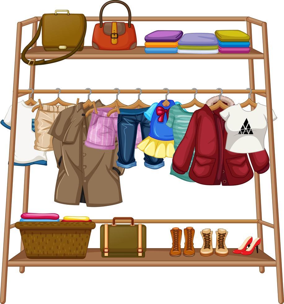 kleren die aan een waslijn hangen met accessoires vector