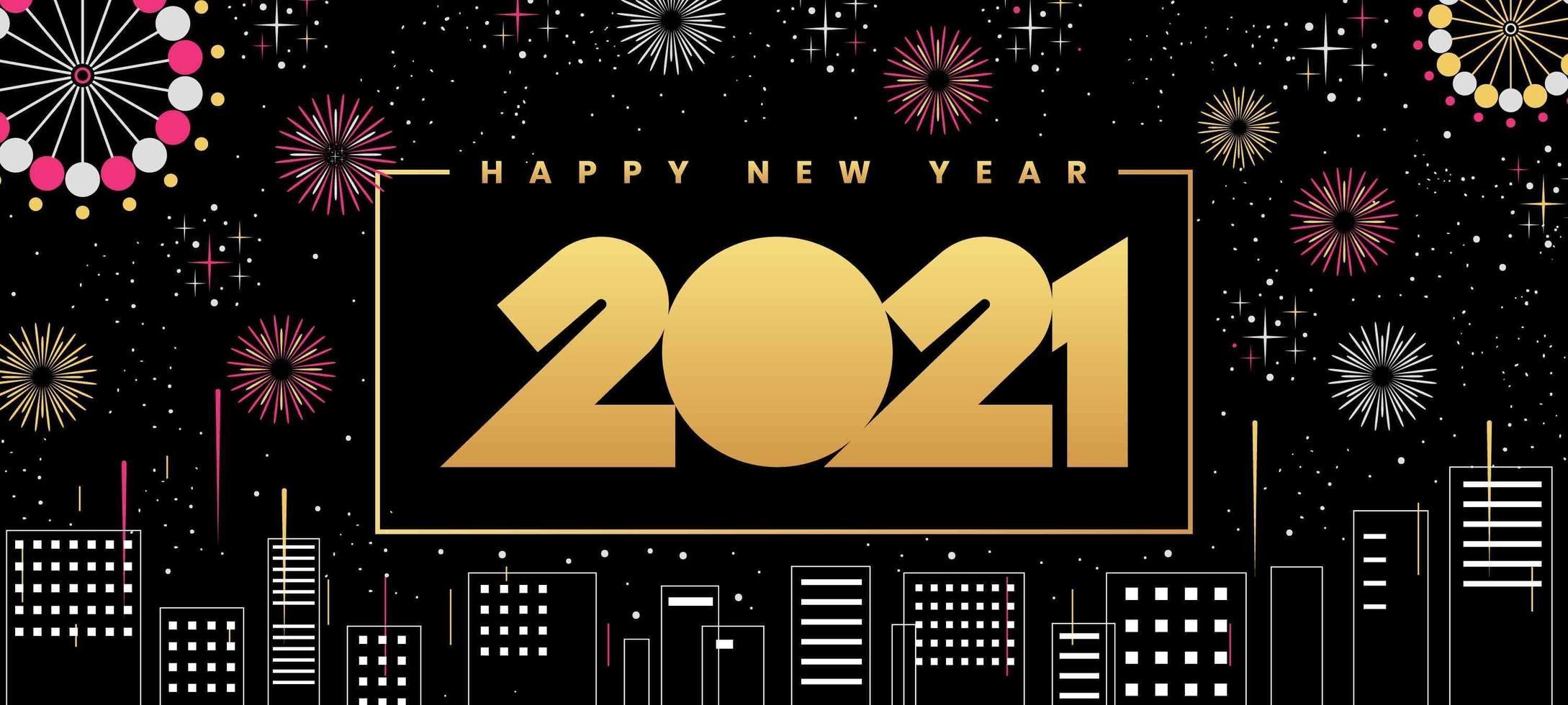 gelukkig nieuwjaar 2021 stadsgezicht vector