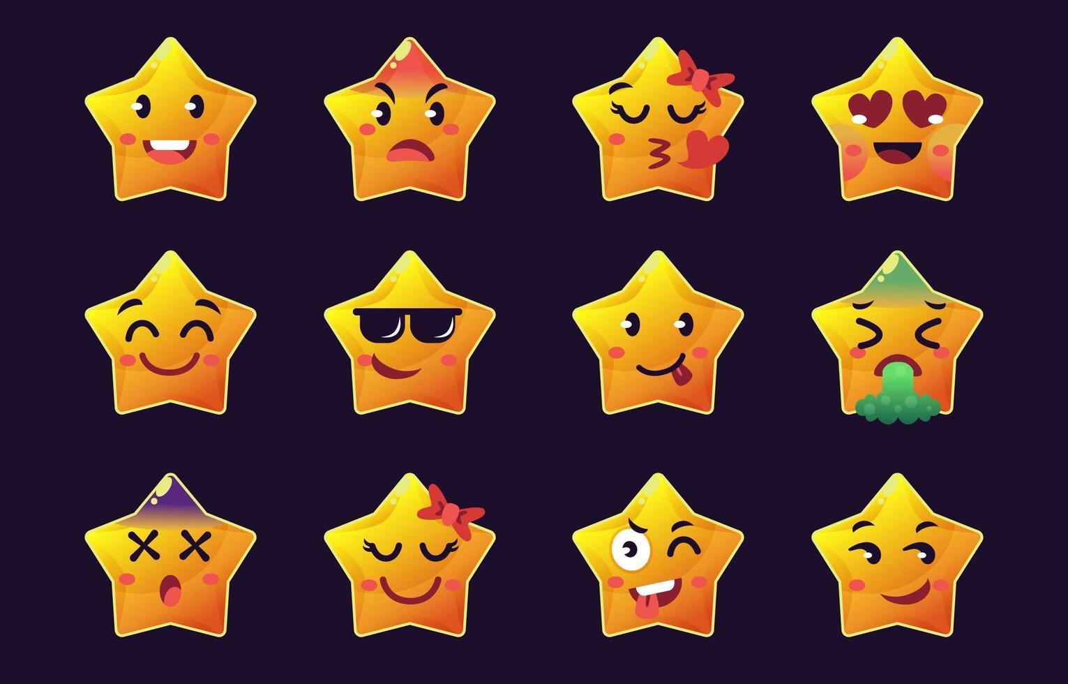 ster emoticon-collecties vector