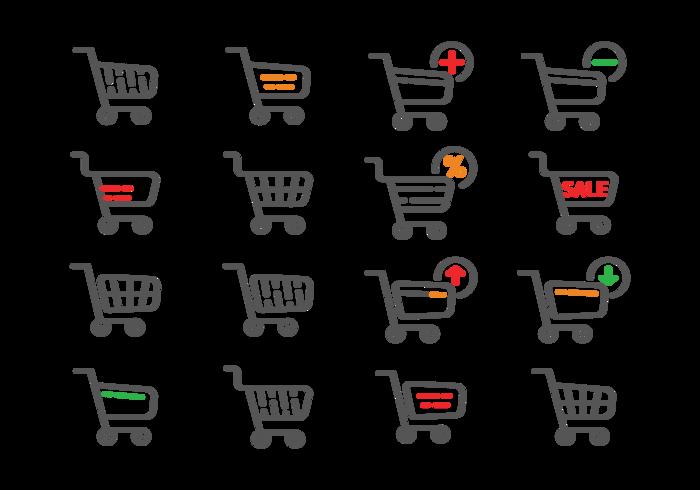 Supermarket Cart Pictogrammen Vector