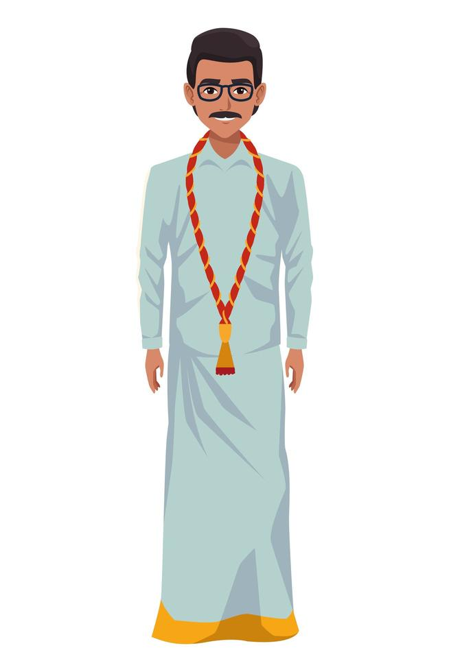Indiase man met traditionele hindoe-kleding vector