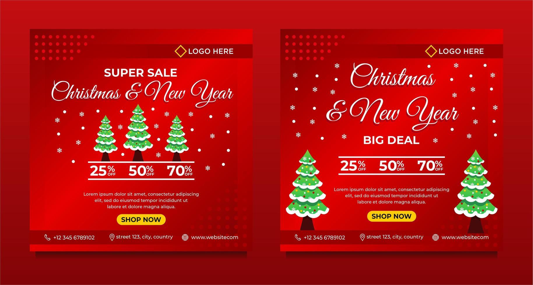 prettige kerstdagen en gelukkig nieuwjaar achtergrond sjabloon vector