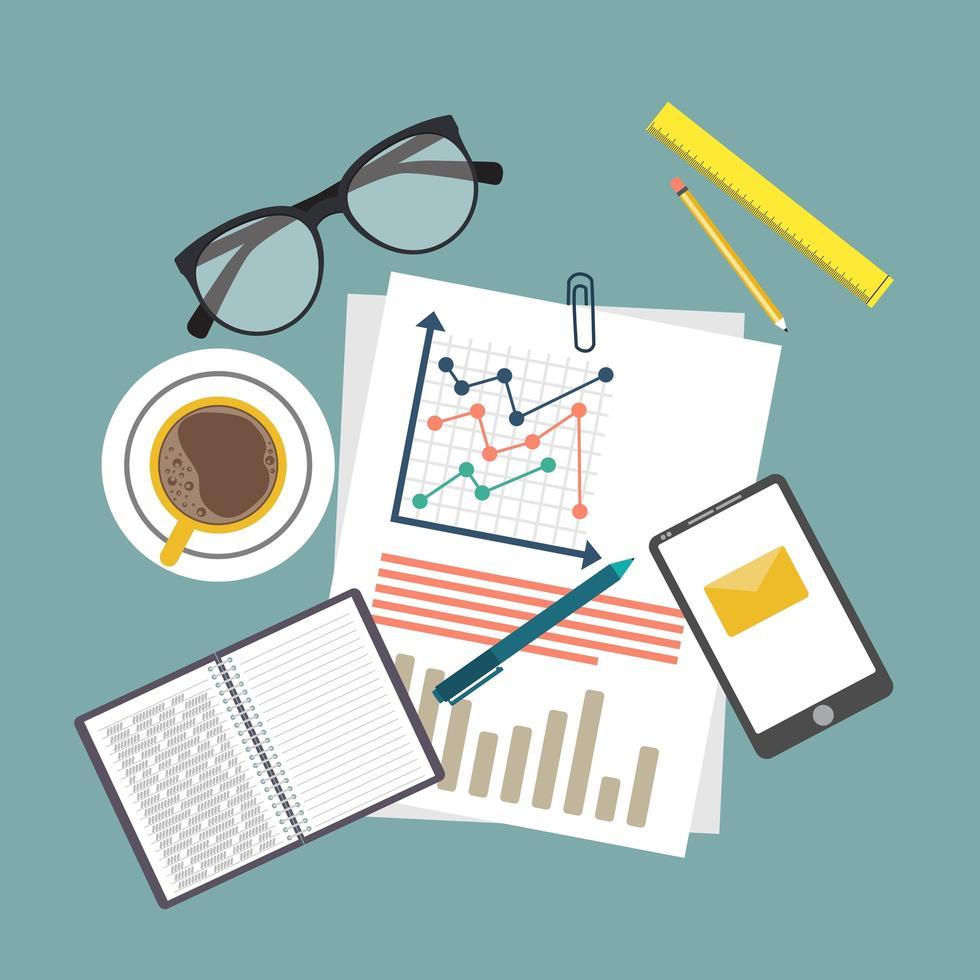 audit concept achtergrond met office-objecten vector
