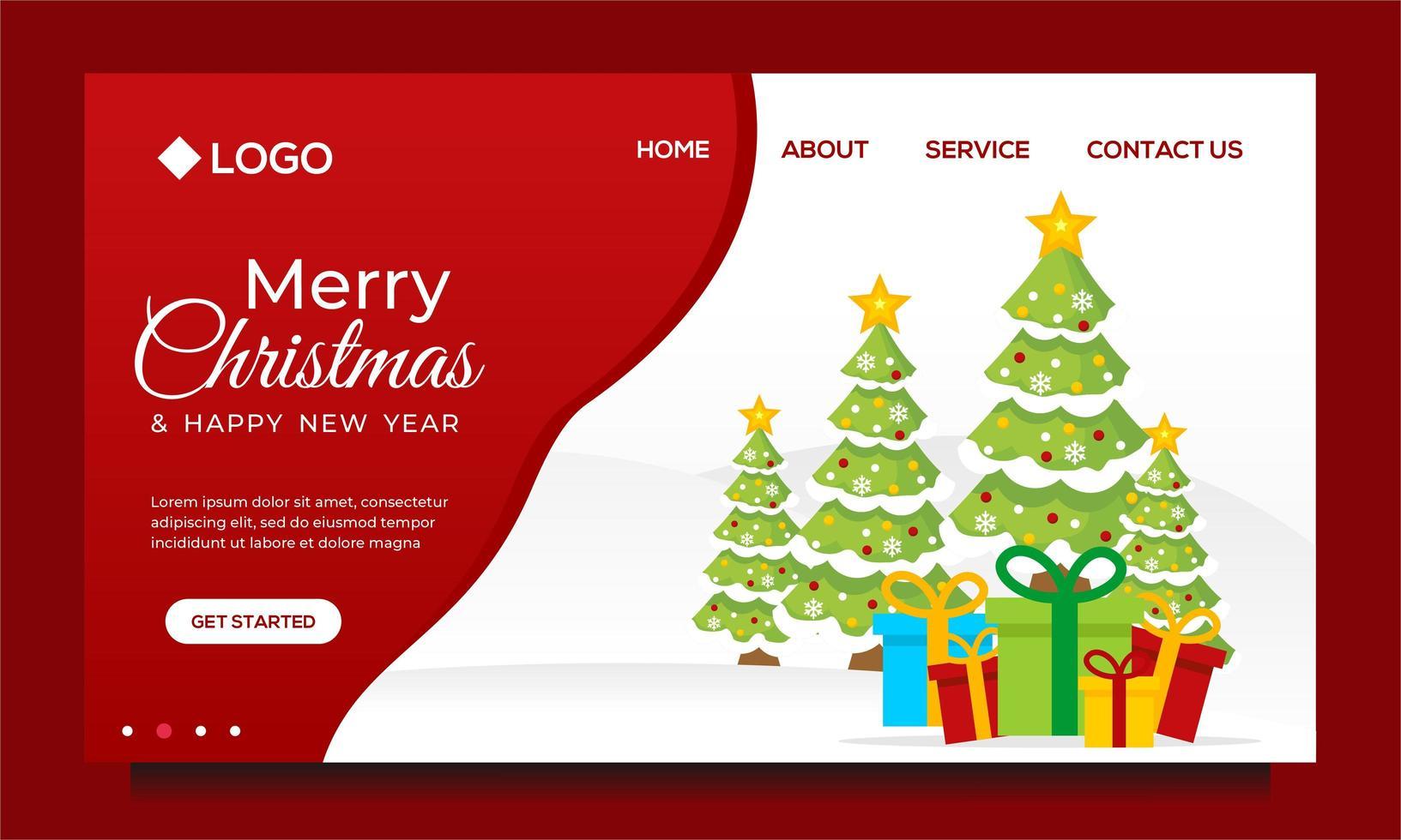 prettige kerstdagen en een gelukkig nieuwjaar bestemmingspagina-ontwerp vector