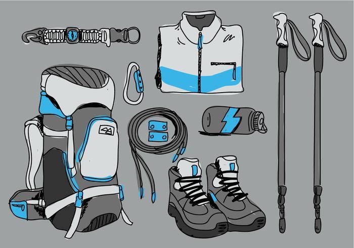 Alpinist Hiker Starter Pack Vector Illustratie