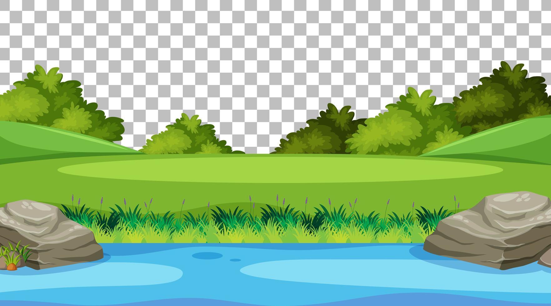 lege natuurparkscène met rivierlandschap op transparante achtergrond vector