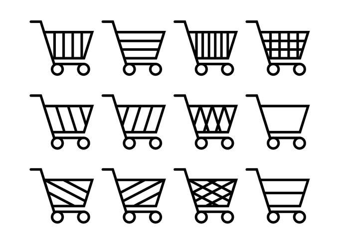 Supermarkt cart icon set vector