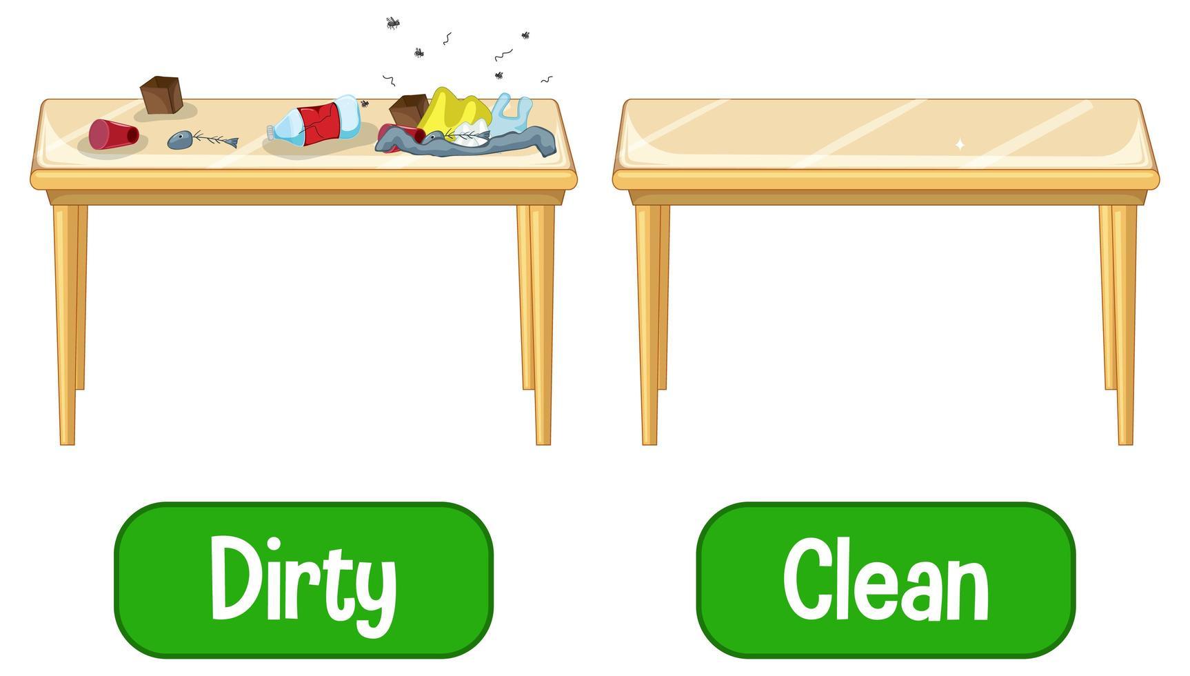 tegenovergestelde bijvoeglijke naamwoorden woorden met vuil en schoon vector