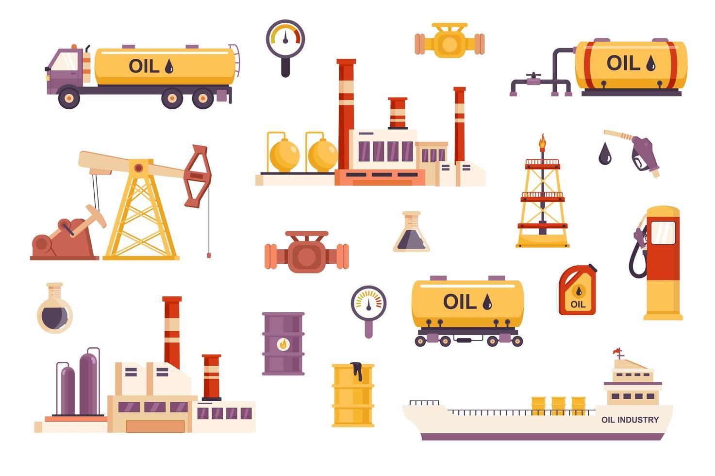 olie-industrie bundel van vlakke scènes vector