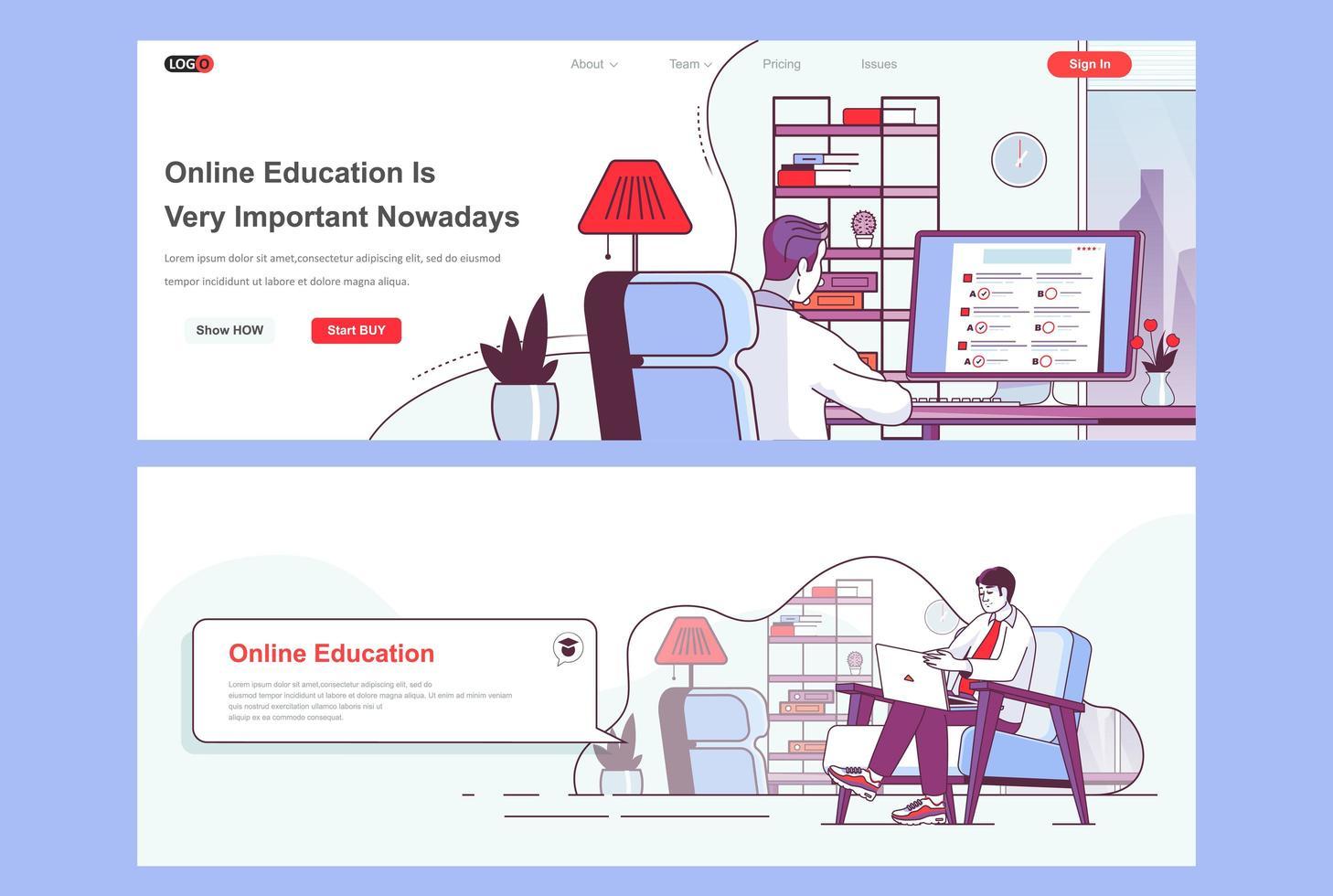 bestemmingspagina's voor online onderwijs ingesteld vector