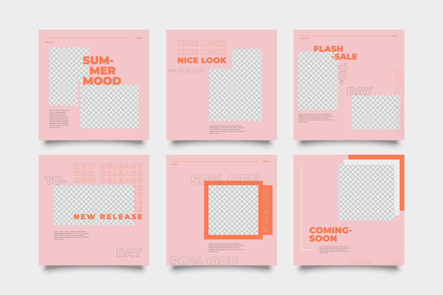 roze en oranje promotionele sociale media postsjabloon vector