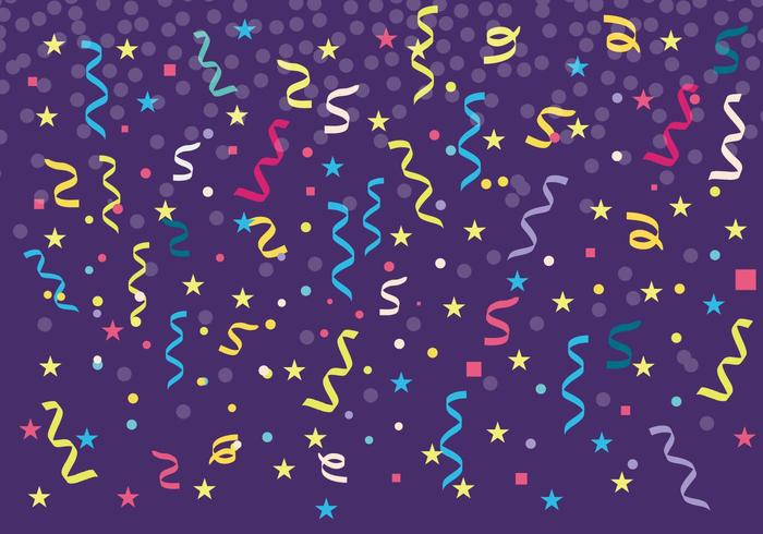 Gratis Kleurrijke Serpentine en Confetti Achtergrond Vector