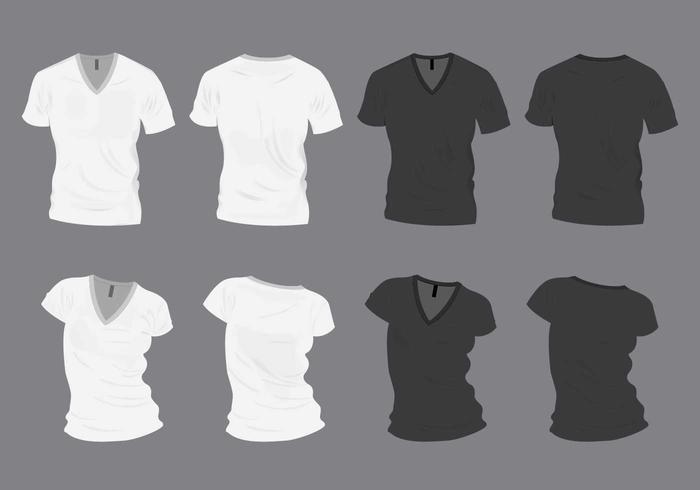 Zwart-wit V-hals Shirt Mock-Up vector