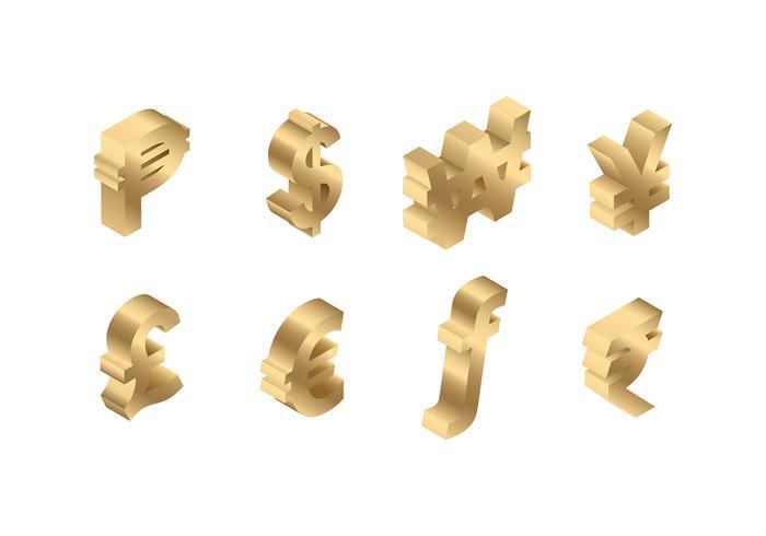 Valuta Symbool 3D Gratis Vector