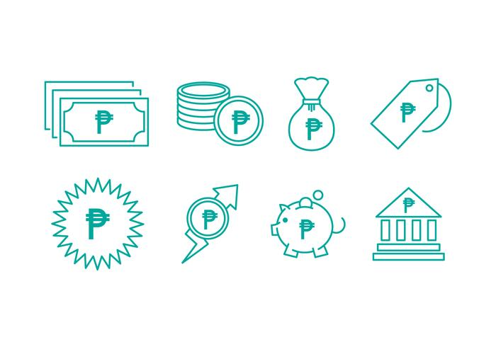 Gratis Peso Currency Line Icons vector