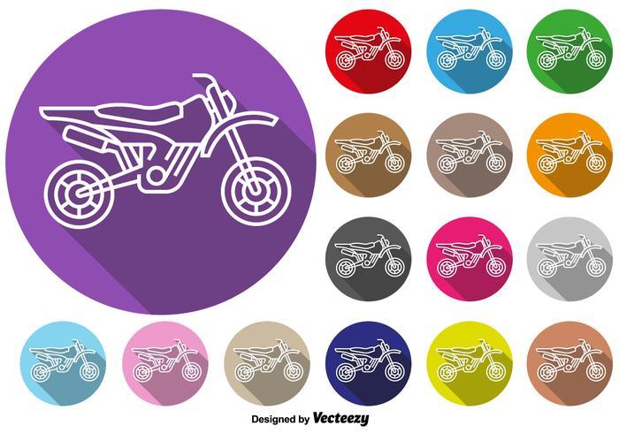 Vector Kleurrijke Knoppen Van Motocross Motorcycle Icon