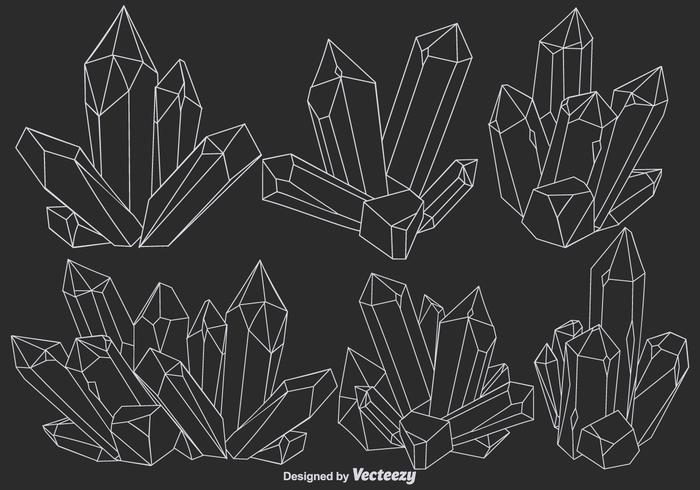 Vector lijnkwarts kristal pictogrammen set