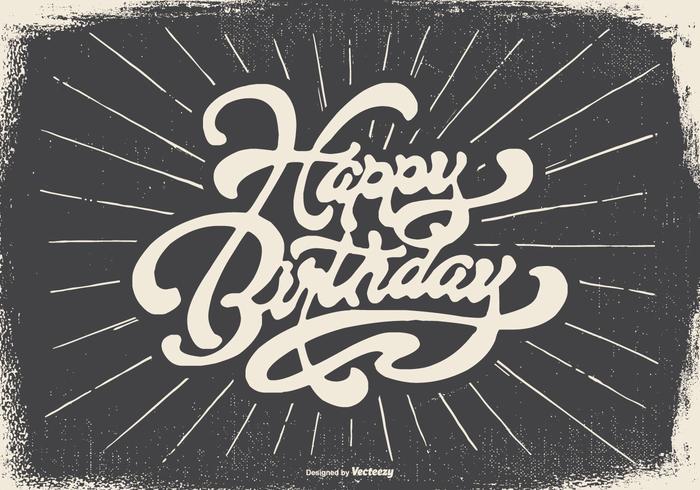 Vintage Typografische Gelukkige Verjaardag Illustratie vector