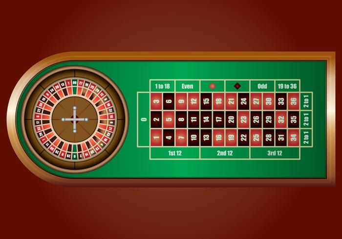 Casino Roulette Wheel Op Green Casino Table vector