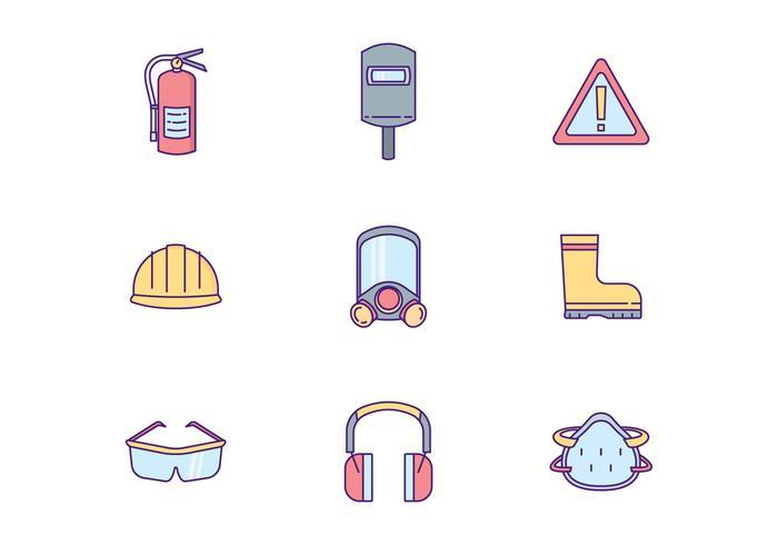 Veiligheidsuitrusting Icon Pack vector