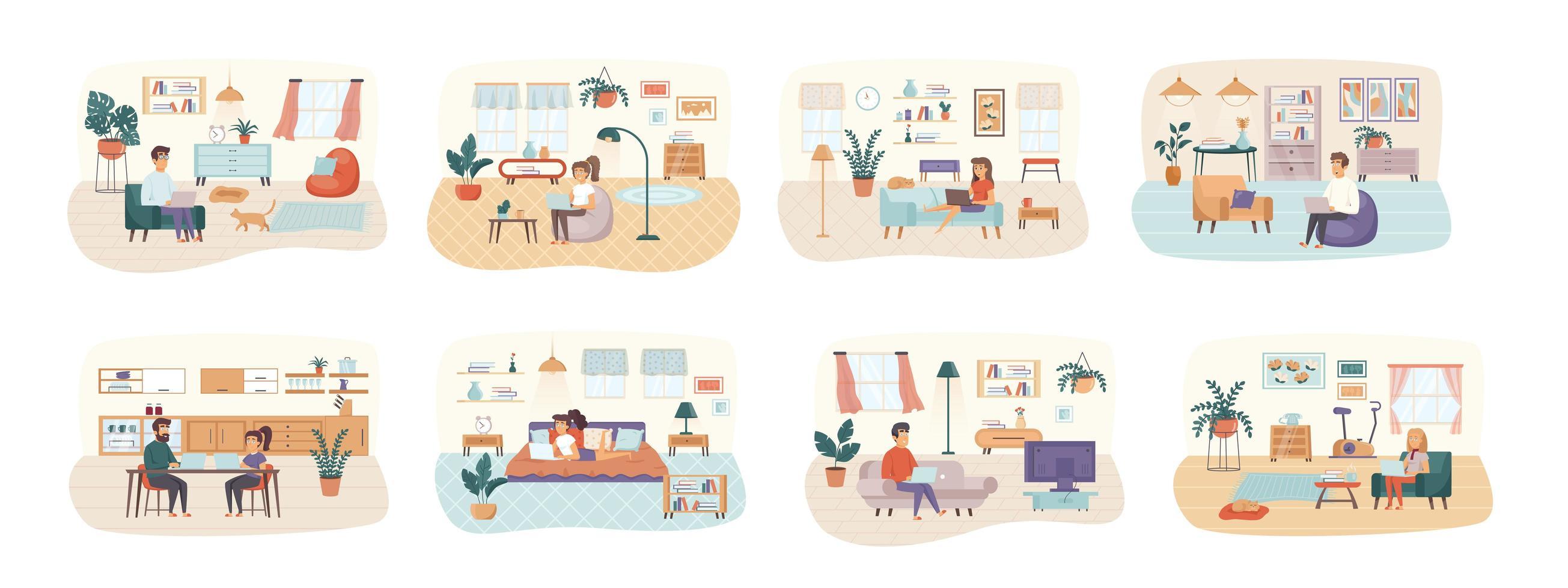 freelance bundel scènes met karakters van platte mensen vector