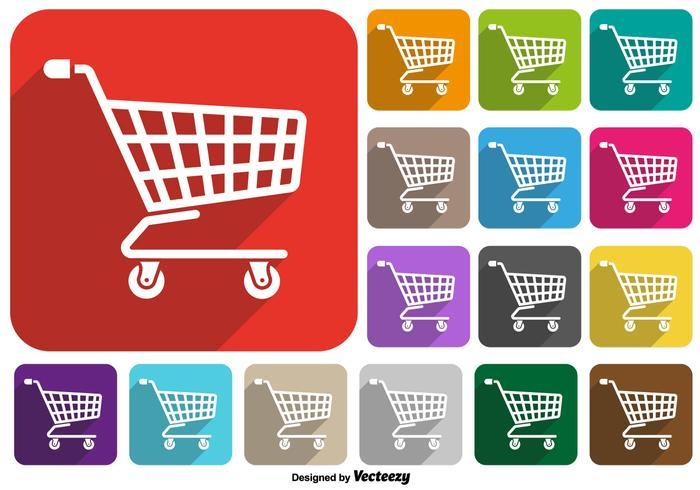 Vector Set Van Supermarket Winkelwagentje Pictogram Kleurrijke Knoppen