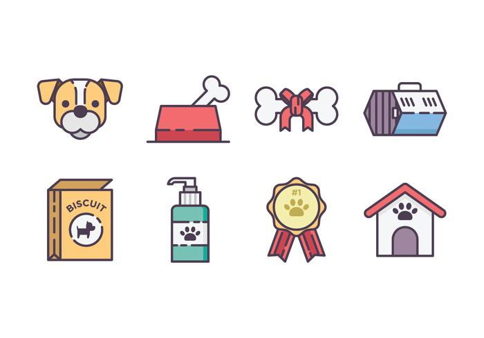 Iconische set voor hondartikelen vector