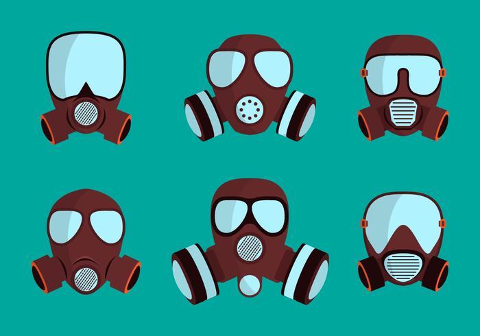 Set gasmasker respirator vector