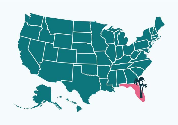 USA & Florida Staten Kaart Vector