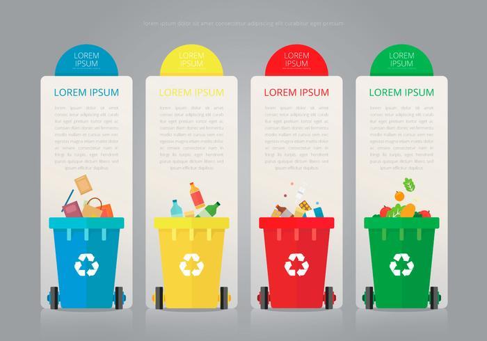 Recycleer en hergebruik blik en andere vuilnisbakken vector