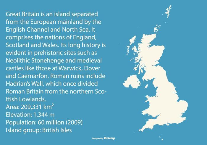 Kaart van Groot-Brittannië vector