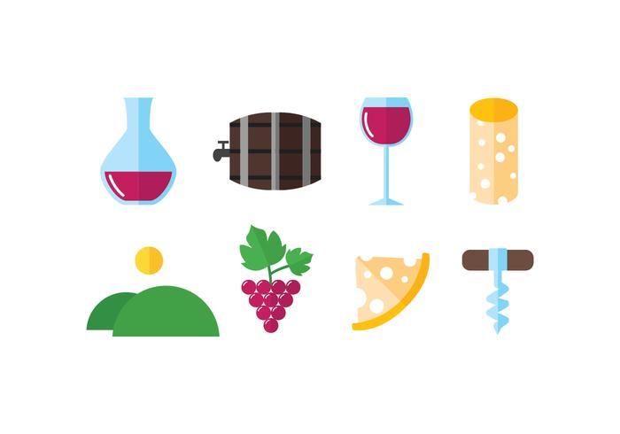 Wijnkelder set vector iconen