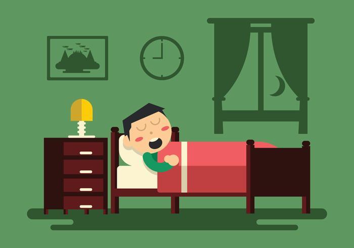Man Slapen In Een Kamer Vector