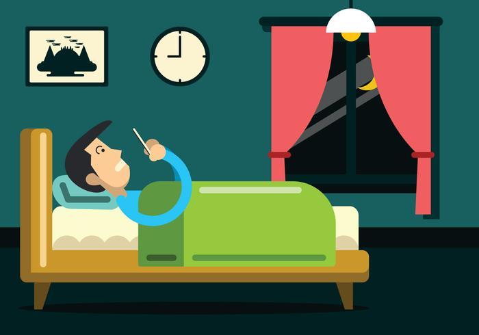 Man op een telefoon in bed Vector