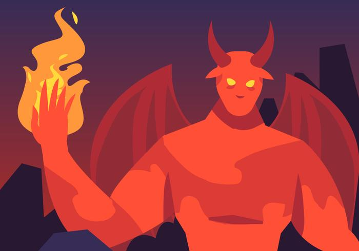 Lucifer En Hel Brand Vector