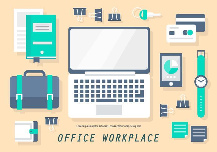 Gratis Flat Office Workplace Vector Illustratie