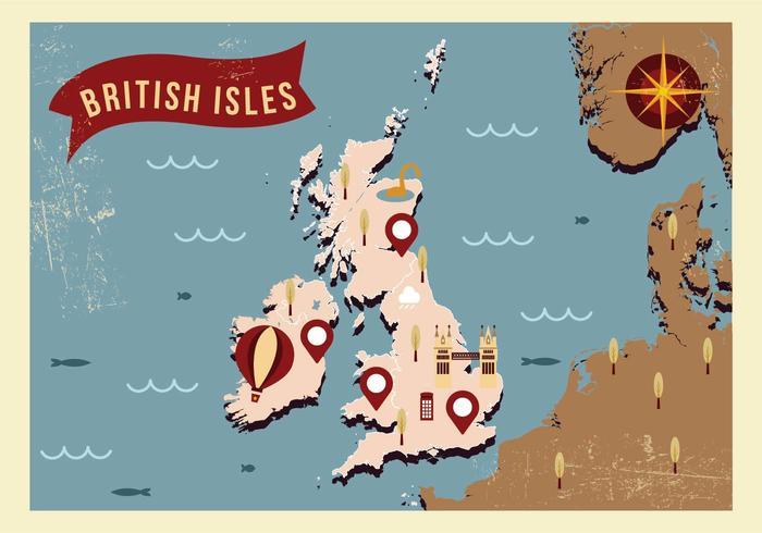 Britse Eilanden Kaart Illustratie Vector