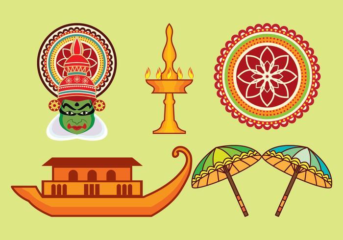 Kerala vector iconen set